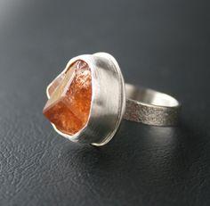 "Hessonite Garnet Ring - Specimen Organic Ring -Naturally Formed Crystal In Fine Silver Bezel Setting ""Cinnamon Stone"" OOAK"