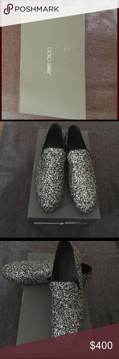 Authentic Jimmy Choo Slip-Ons Awesome men's Glitter Jimmy Choos slip ons. Never been worn in pristine condition. Jimmy Choo Shoes Loafers & Slip-Ons