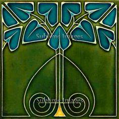 Lustre de cerámica azulejo - Vintage Art Nouveau reproducción (verde con flores de color azul) - varios tamaños