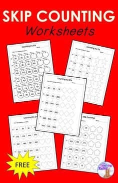 These skip counting worksheets can help students practice counting by and up to 1000 Skip Counting Activities, Math Activities, Math Games, Math Worksheets, Math Resources, 1st Grade Math, Grade 3, Second Grade, Math Patterns