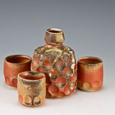 wood-fired porcelain, 3.75 x 2.75 and 1.75 x 1.5