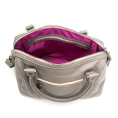 Brynn Capella handbag in oyster shell grey with hot pink lining!  Available at Spart Parts in Chicago! #boutique