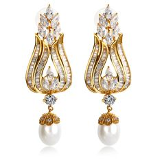 Cubic Zircon Large Earring Allergy Free Platinum & Gold Plated Gorgeous Design Women Luxury Synthetic Pearl Earrings #prom.