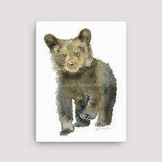 Black Bear Cub Watercolor Painting 12 x 16 Gallery Wrapped Canvas Print - Woodland Animal - Nursery Art Watercolor Fox Tattoos, Bear Watercolor, Watercolor Animals, Watercolor Paintings, Watercolors, Watercolor Ideas, Grizzly Bear Cub, Baby Bear Cub, Bear Cubs