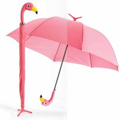 Flamingo Umbrella: This hot pink umbrella is sure to make you smile on even the rainiest of days. Plus, it can stand on its own thanks to a three-toed tip. 38'' diameter.
