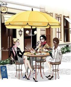 Almorzando con las amigas, almorzar al aire libre, debajo de una sombrilla.