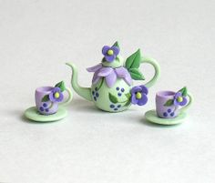 Miniature Purple Fairy Blossom Tea Set OOAK by C. Rohal