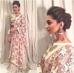 Deepika Padukone in a sequined ivory lehenga with pink lemonade dupatta. Pakistani Dresses, Indian Dresses, Indian Outfits, Indian Clothes, Ellie Saab, Lehenga Wedding, Wedding Dress, Indian Wedding Hairstyles, Indian Attire
