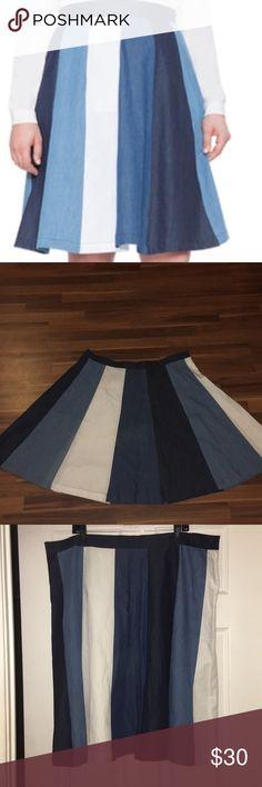 Eloquii studio mixed denim skater skirt Preowned- skater style skirt-no pockets- elastic back- hidden side zip Eloquii Skirts Midi
