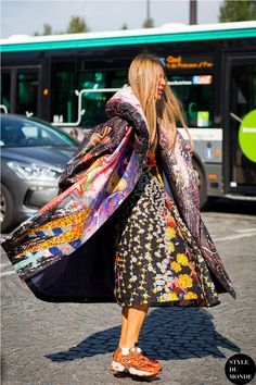 printed coat with sneakers