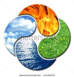 Tattoo idea: 4 Elements forming a floral composition of Yin and Yang by Artistdesign, via ShutterStock
