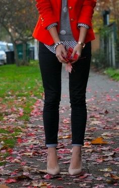 Red blazer, grey polka dot sweater, polka dot blouse, fitted pants, nude heels.