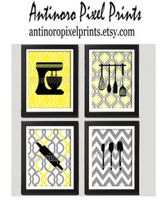Yellow Grey Unframed Kitchen Utensil Tool Art Collection -Set of (4) - 8x10 Prints Custom Colors and sizes Available