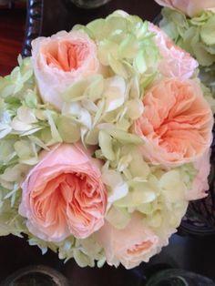 Coral Garden Rose white garden roses, peonies, hydrangeas and stephanotis bridal