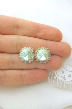 Mint Green Gold Halo Swarovski Studs Gold Crystal by ForTheMaids