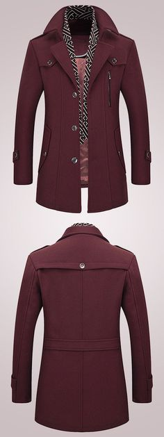 US$84.63 + Free shipping. Size: S~XL. Color: Wine Red, Navy, Brown, Grey. Fall in love with casual and fashion style! Men's Thick Wool Detachable Scarf #Trench Coat#Pea Coat #Top Coats #men's fashion