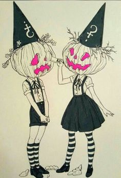 Love this punk pumpkin sisters cartoon art illustration, perfect for Halloween I from the imaginative works inspired by Inktober desposablePhoto Halloween Illustration, Art And Illustration, Halloween Drawings, Halloween Art, Halloween 2019, Halloween Tattoo, Halloween Costumes, Evvi Art, Art Sketches