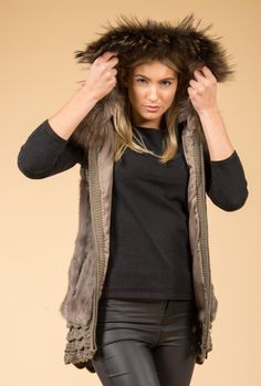 Hooded Fur & Knit Mocha Brown Jayley Gilet | Fur Gilets