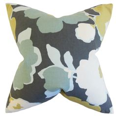 Offer sophistication and down-to-earth elegance with this accent pillow. This throw pillow features a floral pattern in shades of grey, blue, green and white. Dress up your sofa, bed or seat with a fe