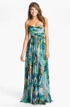 La Femme Multicolor Ruched Print Chiffon Gown