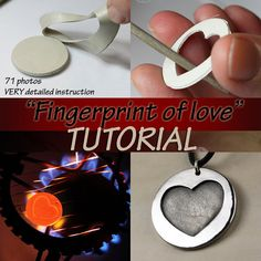 Fingerprint of love TUTORIAL for TOTAL BEGINNERS metal clay pendant, metal clay tutorial, art clay tutorial, metal clay, pmc Clay Projects, Clay Crafts, Plaster Crafts, Fingerprint Jewelry, Fingerprint Heart, Fingerprint Crafts, Metal Clay Jewelry, Stone Jewelry, Creation Deco