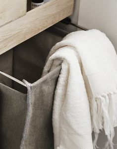Laundry bags, wicker baskets and trays made from robust materials can be taken out and moved around.