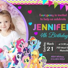 This listing is for a My Little Pony MLP Birthday Party Invitation Digital File All fonts, colors and wording can be changed at no extra cost. This listing includes one DIGITAL file YOU-PRINT (not printed) Ordering is fast and easy! 1. Add the item to your cart and check out. 2. Add the following information under NOTE section in payment page or you can e-mail me at prettypaperpixels@gmail.com * Size - 4x6 or 5x7 * Name - * Age- * Date of event - * Time - * Address - * RSVP Info - *...