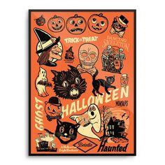 BEISTLE ® Vintage 50's 60's HALLOWEEN Decoration *POSTER Print WITCH Mondo *RARE    eBay