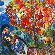 This Marc Chagall The Enamoured is oil on canvas and waterproof. Description from paintingandframe.com. I searched for this on bing.com/images