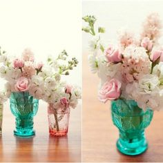 LOVE- colored vase with white flower; could be with white flowers and accents of purple and/or turquoise. Vintage vases