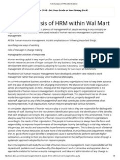 A Brief Analysis of HRM Within Wal Mart Biodata Format Download, Office Files, Reading Online, Pdf