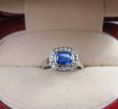 1.17CT Sapphire halo ring from Jewels by Erica Grace.