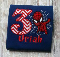 Spiderman Birthday shirt- boys, superhero shirt, birthday, little boy shirt, girls shirt, spider birthday by InspiredByEmilyGrace on Etsy