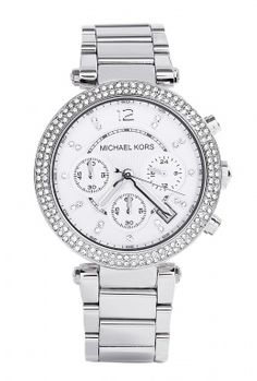 Silver and Glitz Chronograph Watch by Michael Kors Watches