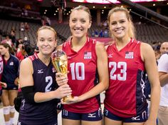 FIVB World Grand Prix: Team USA's former Huskers are, from left, Kayla Banwarth… Volleyball Funny, Usa Volleyball, Kelsey Robinson, The Championship, Team Usa, Athletic Women, Funny Design, Nebraska