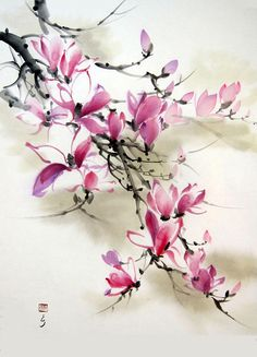 Your place to buy and sell all things handmade Japanese Ink Painting, Japanese Watercolor, Chinese Painting, Chinese Art, Watercolor Paintings For Sale, Sumi E Painting, Watercolor Flowers, Watercolor Art, Magnolia Paint