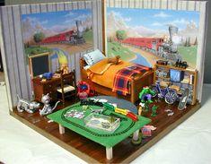 Miniature boy's room roombox on childrenbedroom.blogspot.com/2009/07/boys-bedroom.html