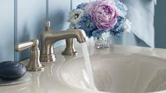 Bancroft traditional elegance of early American design, added leak free ultra glide valves and facet Kohler Shower, Kohler Faucet, Bathroom Sink Faucets, Bathrooms, Vanity Faucets, Bathroom Plumbing, Kohler Bancroft, Master Bath Vanity, Big Baths