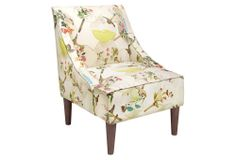 """Quinn Swoop-Arm Chair, Tan/Multi https://www.onekingslane.com/invite/featured ~ US$339.00 ($680.00 Retail)  ~ Made of: frame, pine; upholstery, rayon/poly; fill, polyurethane ~ Size: 24""""W x 28""""D x 33""""H  ~ Seat height: 19""""  ~ Color: frame, brown; upholstery, tan/pink/green/multi"""