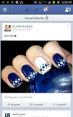 En azul Fancy Nails, Love Nails, How To Do Nails, Pretty Nails, My Nails, Uñas Fashion, Polka Dot Nails, Beauty Skin, Hair And Nails