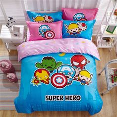 CASA Children 100% cotton series Cute Avengers Duvet cover & Pillow case & Flat sheet,4 Pieces,Queen //Price: $53.28 & FREE Shipping //     #bedding sets