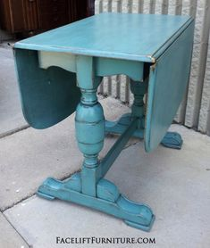 Antique chunky drop leaf table in distressed Sea Blue with Black Glaze. on Facelift Furniture  http://www.faceliftfurniture.com/gallery/upstyled-furniture/