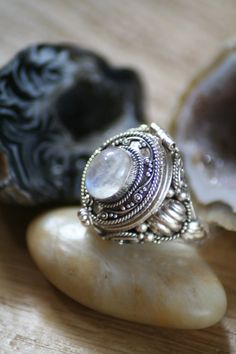 Moonstone statement Ring with secret compartment, locket, locket ring OurSerendipityStones $100