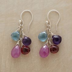 """FRESH FRUIT EARRINGS--Delicious drops of amethyst, garnet, jade and aquamarine fall from sterling rings on silver wires. Handmade in the USA. Exclusive. Approx. 1-3/8""""L."""