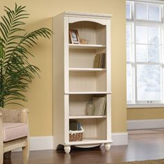 (For Den To Flank on both sides of fireplace) Sauder Harbor View 5-Shelf Library Bookcase, White