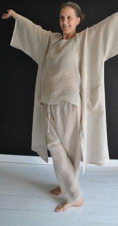 Handmade linen pyjama HIMALAYA in handwoven finest linen Zara Home Pajamas, Chic Outfits, Fashion Outfits, Pajama Shirt, Gandalf, Pajamas Women, Linen Dresses, Minimal Fashion, Modest Fashion