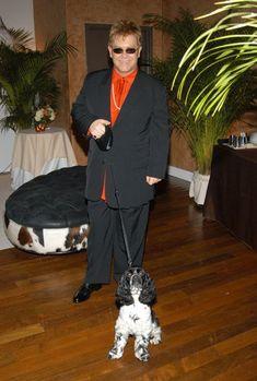 Elton John with his dog Arthur.