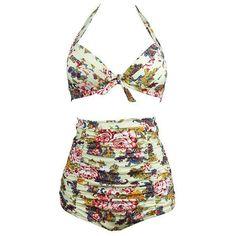 X-HERR High Waist Swimsuit Retro 50s Women Floral Print Bikini Set Plus Size S-3XL Halter Bowknot Carnival Swimwear Bathing Suit