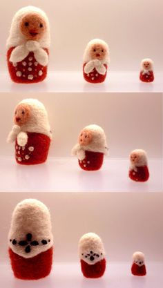 Needle felted Matryoshka Russian nesting dolls set of 3 in red and white
