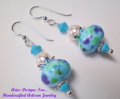 Cool Waters Turquoise Blue  Lampwork Earrings by ariesdesignstoo